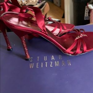 Lk New Stuart Weitzman Red Satin TieUp Ankle Shoes